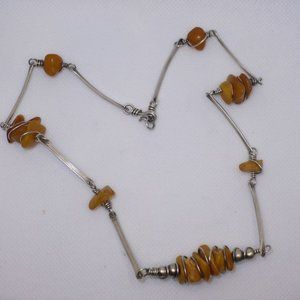 Sterling Silver Baltic Amber Artistic Necklace